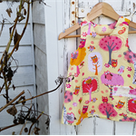 Girls Owl Dress Little Girls Cotton Dress Owls and Trees Dress